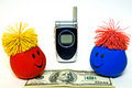 Smiley Faces, Cellphone and Money Stock Photo