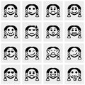 Smiley faces vector icons set on gray grey background eps file available Stock Photo
