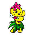 Smiley girl dance hawaii cartoon isolated illustration relaxation Royalty Free Stock Photography
