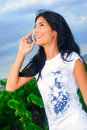Smiley girl on the phone Royalty Free Stock Photo
