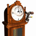 Smiley Grandfather Clock with Mouse Royalty Free Stock Photo