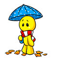 Smiley man autumn umbrella cartoon melancholy illustration Royalty Free Stock Images