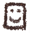 Smiley mit Kaffeebohnen Stockfoto