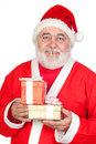 Smiley Santa Claus with two gifts Stock Photo