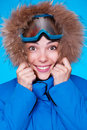 Smiley skier feeling cold Stock Images