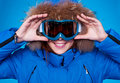 Smiley skier looking through mask. Royalty Free Stock Images