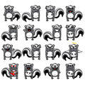 Smiley skunk skunks individually grouped for easy copy n paste Stock Image