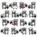 Smiley skunks individually grouped for easy copy n paste Royalty Free Stock Images