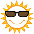 Smiley sun with sunglasses Stock Images
