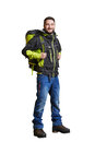 Smiley traveller with backpacker full length portrait of isolated on white background Royalty Free Stock Image