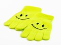 Smiley winter gloves pair of over a white background Royalty Free Stock Photography