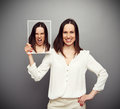 Smiley woman angry inside young Royalty Free Stock Photo