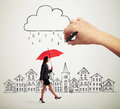 Smiley woman with red umbrella walking under drawing storm cloud in the drawing city Stock Photos