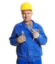 Smiley worker with different tools Royalty Free Stock Photography
