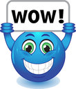 Smiley with wow sign stock image blue face a Royalty Free Stock Photo