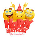 Smiley yellow faces emoji characters. Happy birthday card