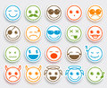 Smileys face vector emoticons set in white flat icon sticker Royalty Free Stock Photo