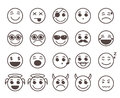 Smileys faces flat line vector icons set with funny facial expressions Royalty Free Stock Photo