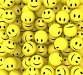 Smileys show happy cheerful faces and smiling Stock Images