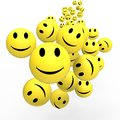 Smileys show happy positive faces cheerful and Stock Images