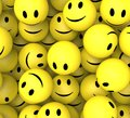 Smileys showing happy cheerful faces and smiling Stock Photo