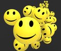 Smileys showing happy positive faces cheerful and Royalty Free Stock Photos