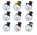 Smileys snowman smiley set of in the shape of a circle Stock Photos