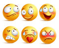 Smileys vector set. Smiley face or yellow emoticons with facial expressions Royalty Free Stock Photo