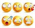 Smileys vector set. Yellow smiley face or emoticons with facial expressions Royalty Free Stock Photo