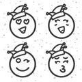 Smileys zum Karneval und Rosenmontag. Emoticons Set. Royalty Free Stock Photo