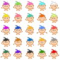 Smilies girls set of with colored hair symbolising various human emotions Royalty Free Stock Photography