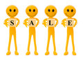 Smilies holding word SALE Stock Image