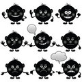 Smilies round, set, black Royalty Free Stock Images