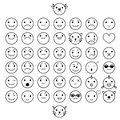 Smilies vector icons each grouped editable elements Stock Image