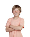 Smiling adolescent with a happy gesture isolated on white background Royalty Free Stock Image