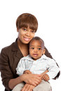 Smiling African American Mom Holding Baby Boy Stock Photos
