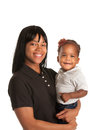 Smiling African American Mom Holding Baby Girl Royalty Free Stock Images