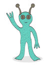 Smiling alien waving hand Royalty Free Stock Photo