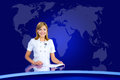 Smiling anchorwoman at tv studio television with world map in the background Stock Photo