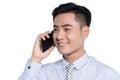 Smiling asian business man, phoning Royalty Free Stock Photo
