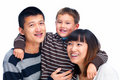 Smiling Asian family cut out on white Stock Photography