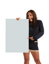 Smiling asian female holding a blank sign isolated on white background Royalty Free Stock Image