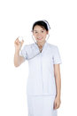 Smiling asian female nurse holding stethoscope isolated on white Royalty Free Stock Photo