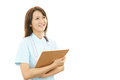 Smiling asian female nurse portrait of an Royalty Free Stock Image