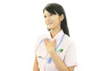 Smiling asian female nurse portrait of an Stock Image