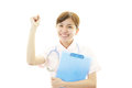 Smiling asian female nurse the who poses happily Stock Photography