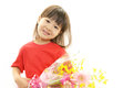 Smiling asian girl happy smile with flowers Royalty Free Stock Photo