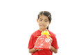 Smiling asian girl happy smile with a gift Royalty Free Stock Photo