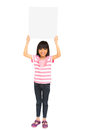 Smiling asian little girl holding blank sign Stock Image