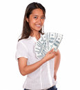 Smiling asiatic young woman with cash money portrait of a looking at you on isolated background Stock Image